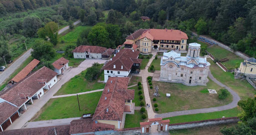 Monastery forest Church Drone shot Footage
