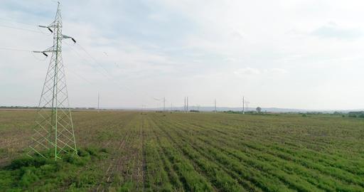Power lines field drone shot Footage