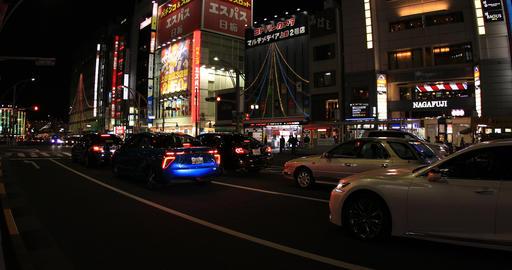 Night street in the city 4K wide shot ビデオ
