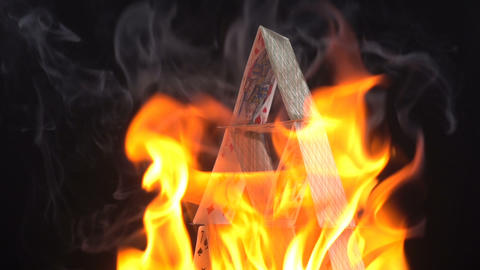 House Of Cards In Flames Stock Video Footage