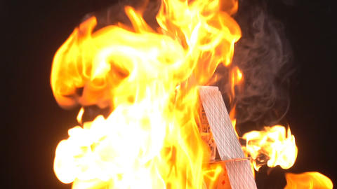 House Of Cards In Flames Footage
