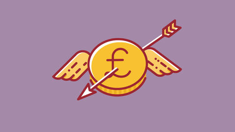 Animation of flying Britain Pound coin which is shoot down by arrow, currency Animation