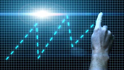 hand draws a digital chart on a growing digital screen Footage