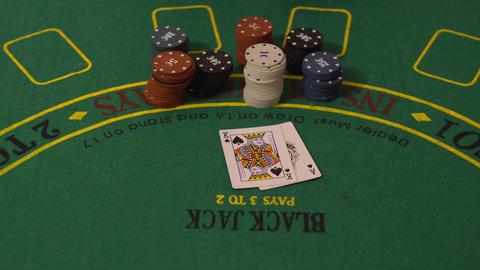 Gambler Put Blackjack Cards on Casino Table, 21 Ace King Win, Take Poker Chips Footage