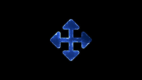 Symbol arrows up down, right left. Blue Electric Glow Storm. looped video. Alpha Animation