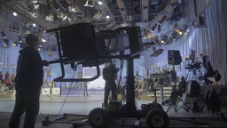 Shooting TV broadcast with the camera on the crane Footage