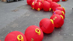 Preparing for Chinese New Year celebrations 2016 Chinatown London UK3 Footage