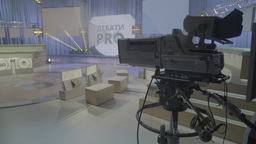 Big professional TV camera in TV Studio Footage
