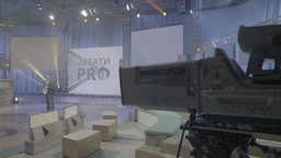 Big professional TV Studio. Behind-the-scenes work in the TV Studio Footage