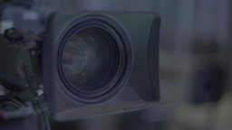 Close-up lens TV camera in TV Studio Footage