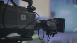 TV camera in a TV Studio during the live broadcast (close-up) Footage