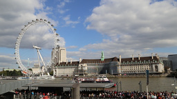 Tourist boat at Westminster Pier River Thames London Footage