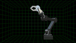 Three-dimensional robot arm with claw Footage