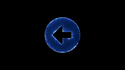 Symbol arrow circle left. Blue Electric Glow Storm. looped video. Alpha channel Animation