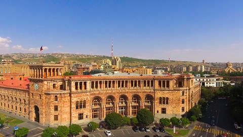 Aerial view of Yerevan central square and government of republic of Armenia Live Action