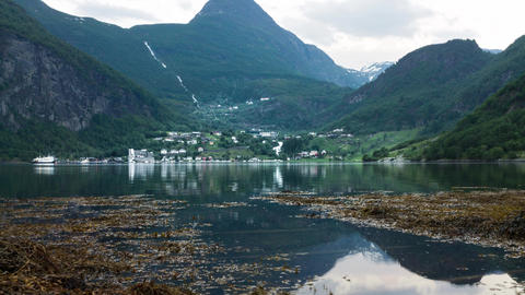 Rising tide at Geiranger fjord in Norway time-lapse Live Action