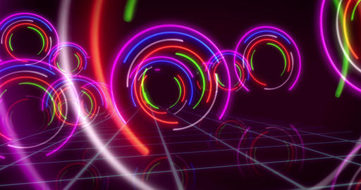 Abstract background neon circle lights Stock Video Footage