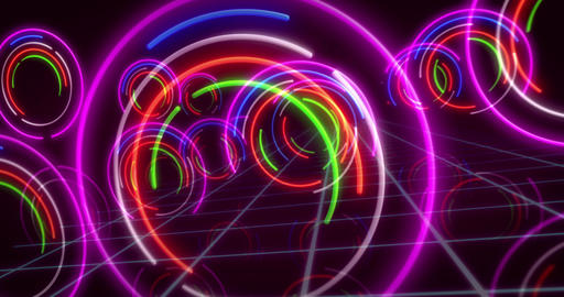 Abstract background neon circle lights Animation