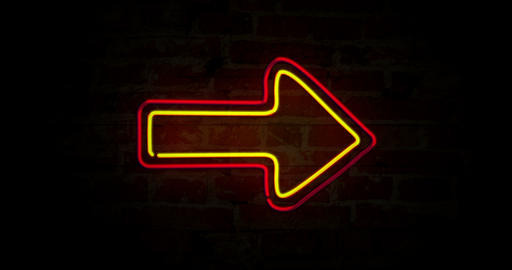 Arrows red and yellow neon light Animation