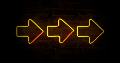 Arrows yellow neon light Animation