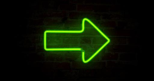 Arrow green neon light Animation