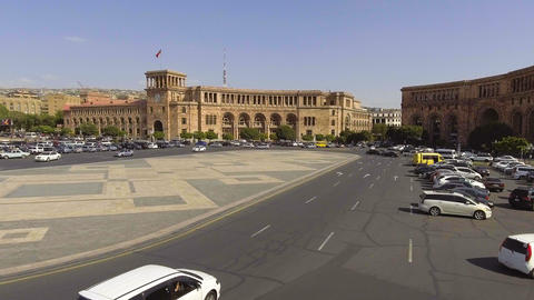 Daily motion of cars on Republic square of Yerevan, Armenia, view of Government Footage