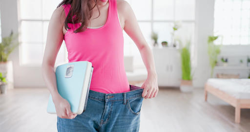 healthy woman hold weight scale Live影片