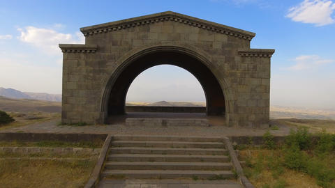 Breathtaking view of Ararat mountain from Charents Arch, travel inspiration Live Action