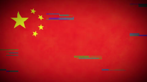 4k China Flag Background Loop With Glitch Fx Animation
