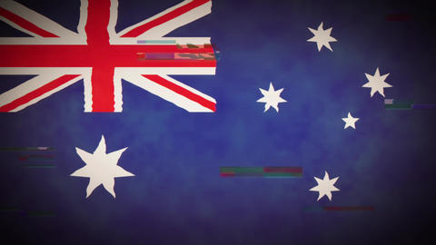 4k Australia Flag Background Loop With Glitch Fx Animation