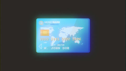 4k Credit Card Recto And Verso With Glitch Effect Animation