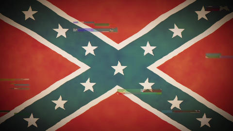 4k American Confederate Flag Background Loop With Glitch Fx Animation