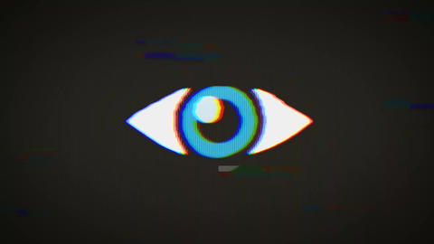 Big Brother's Eye On Vintage Old Television Screen Animation