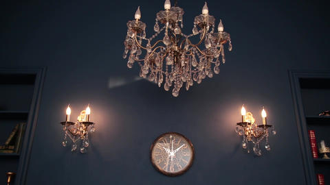 Crystal Chandelier. Close up on the crystal of a contemporary chandelier Live Action