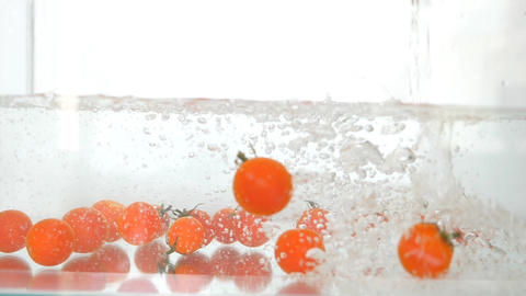 Falling Beach Red Fresh Organic Tomatoes Animation