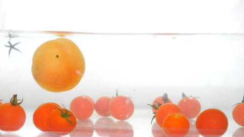 Falling Face Red Fresh Organic Tomatoes Animation