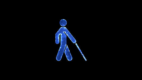 Symbol blind. Blue Electric Glow Storm. looped video. Alpha channel black Animation