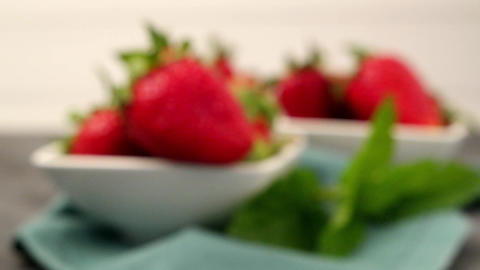 Appetizing strawberry in the bowl Footage
