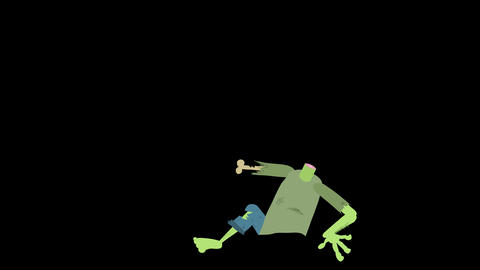 Cartoon Zombie Character Element 10 - climbs out of the ground Animation