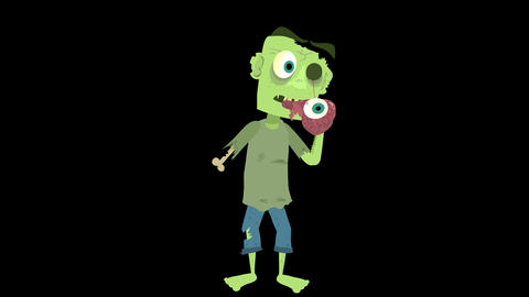 Cartoon Zombie Character Element 4 - eating his own brain Animation