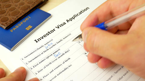 Investor Visa document with passport, apply and permission for foreigner country Live Action