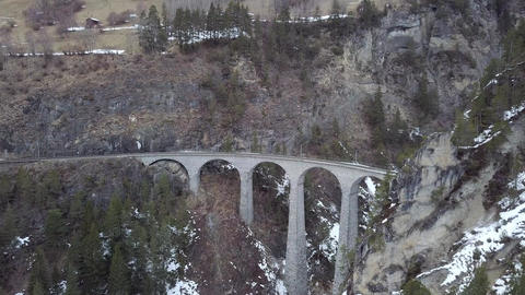 4K Aerial Drone view Landwasser Viaduct World Heritage Sight Live Action
