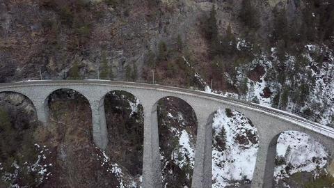 4K Aerial Drone view Landwasser Viaduct World Heritage Sight Footage