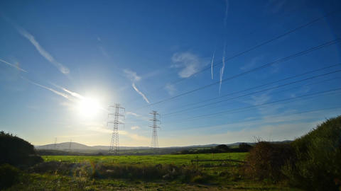 Electricity pylons in the countryside. Sardinia, Italy 영상물
