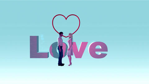 "Couple with Animated Word, ""Love"" with Heart Animation"