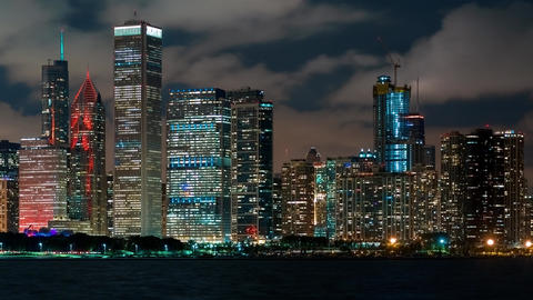Chicago skyscrapers at night in time-lapse 영상물