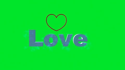 "The Word, ""Love"" with Heart Shape on Green Screen: Looping + Matte Animación"