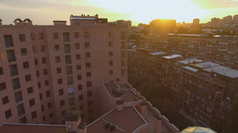 View of contrast between modern and Soviet buildings, densely built-up area Footage