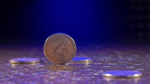 BTC bitcoin crypto money value symbol are spinning Footage