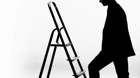 Man in business suit climbing up career ladder, got job promotion, progress Footage